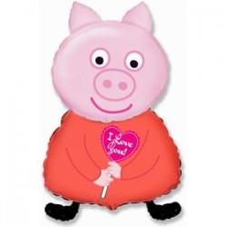 Шар 36 см Мини-фигура Поросенок с сердцем Розовый