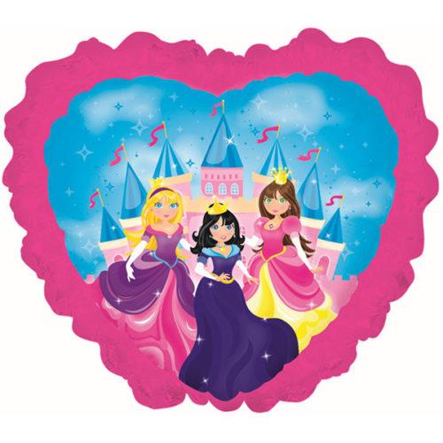 Шар 36 см Мини-фигура Принцессы на фоне замка Розовый