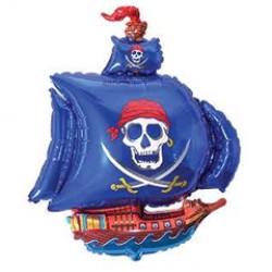 Шар 36 см Пиратский корабль-синий