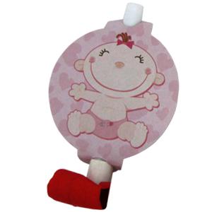 Язычки-гудки с карточкой С днем Рождения Малыш розовые 6 штук