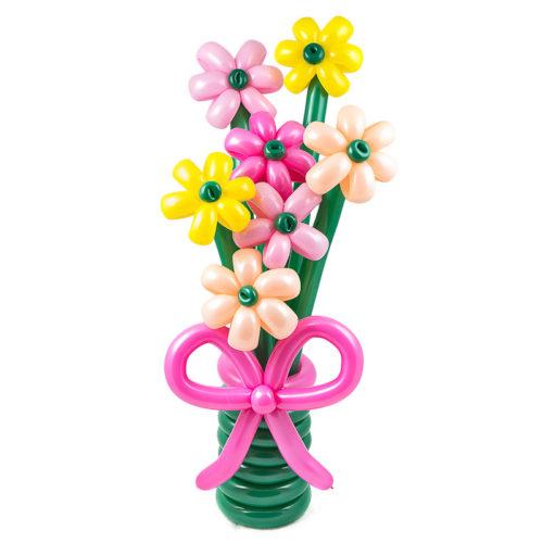 Экибана из 7 разноцветных цветочков из воздушных шаров