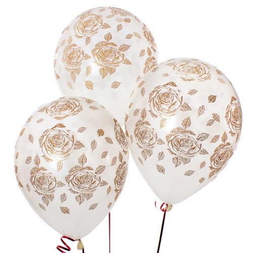 Связка из 3 белых шаров с рисунком Розы золото