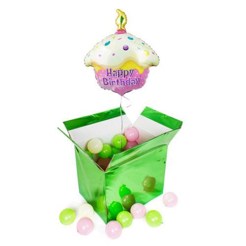 Коробка сюрприз с шаром тортом и маленькими шариками