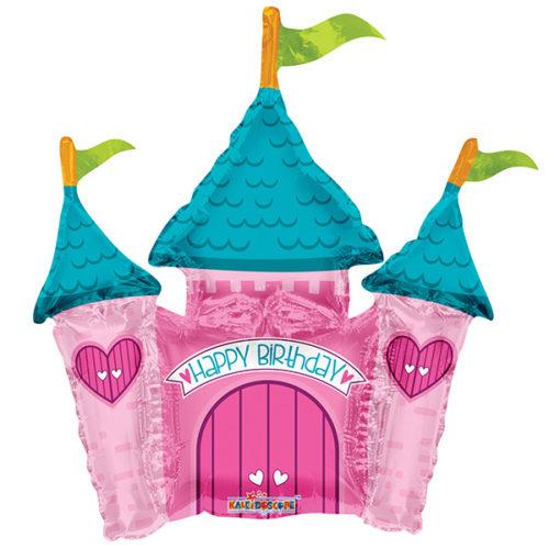 Шар 35 см Мини-фигура С Днем Рождения Замок принцессы