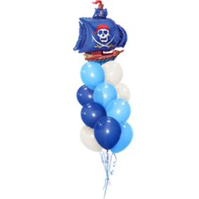 Связка морская из 12 шаров с пиратским кораблем