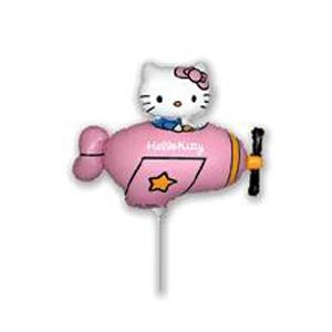 Шар 35 см Мини-фигура Hello Kitty самолет розовый