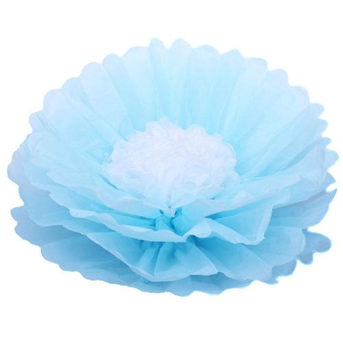 Бумажный цветок 40 см голубой + белый