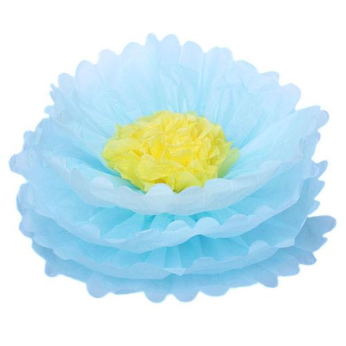 Бумажный цветок 40 см голубой + желтый