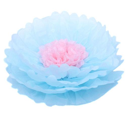 Бумажный цветок 40 см голубой + светло-розовый
