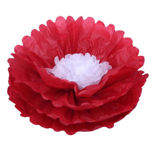Бумажный цветок 40 см красный + белый