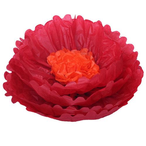 Бумажный цветок 40 см красный + оранжевый