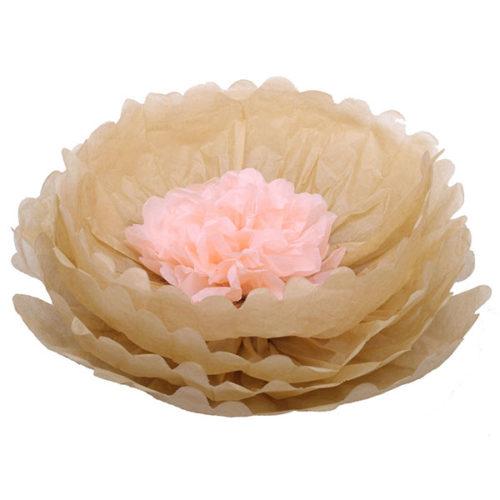 Бумажный цветок 40 см латте + персиковый