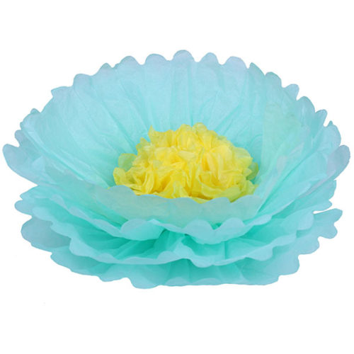 Бумажный цветок 40 см мятный + желтый