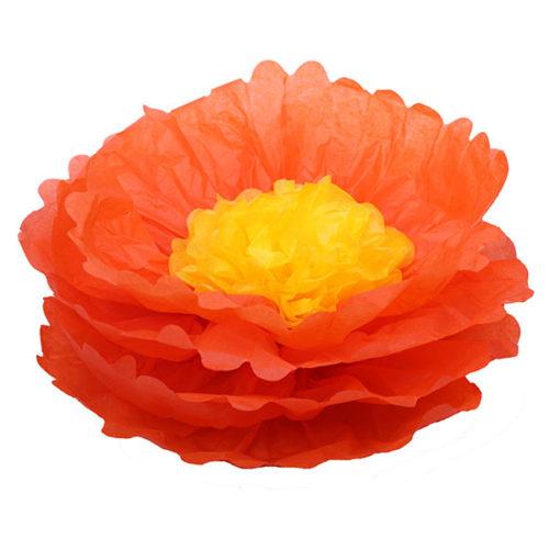 Бумажный цветок 40 см оранжевый + ярко-желтый