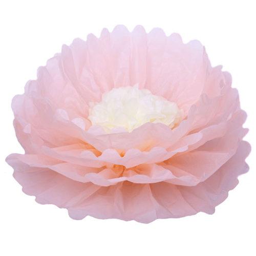 Бумажный цветок 40 см персиковый + бежевый
