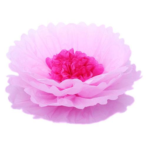 Бумажный цветок 40 см розовый + амарантовый