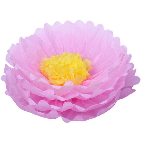 Бумажный цветок 40 см розовый + желтый