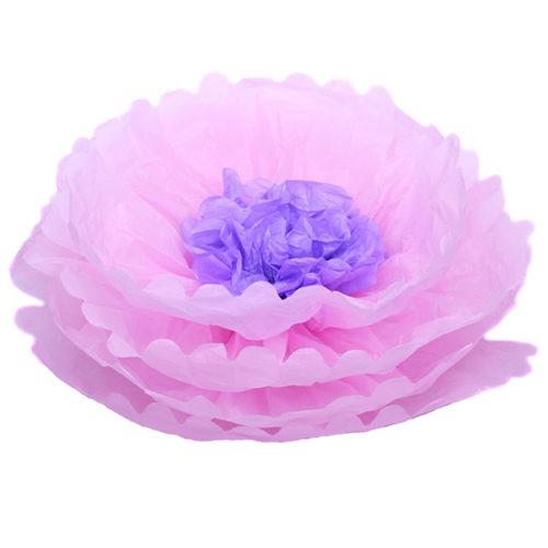 Бумажный цветок 40 см розовый + светло-сиреневый