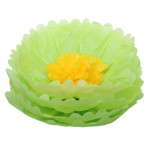 Бумажный цветок 40 см салатовый + желтый