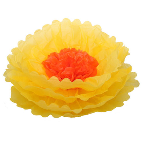 Бумажный цветок 40 см ярко-желтый + оранжевый