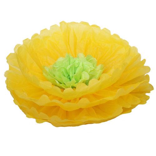 Бумажный цветок 40 см ярко-желтый + салатовый