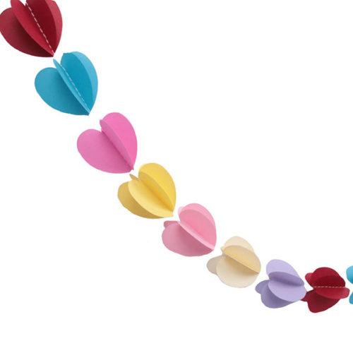 Гирлянда 3D Сердечки разноцветная 165 см