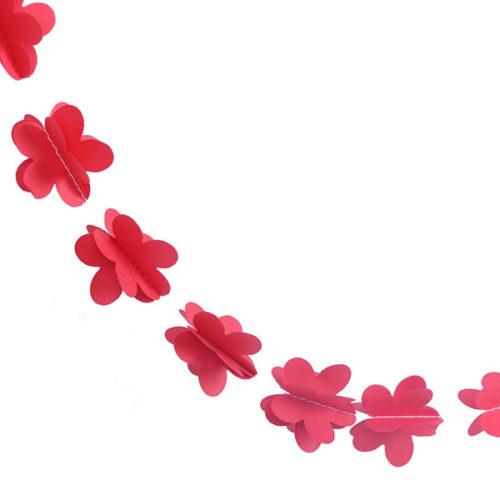 Гирлянда 3D Цветочки красная 165 см