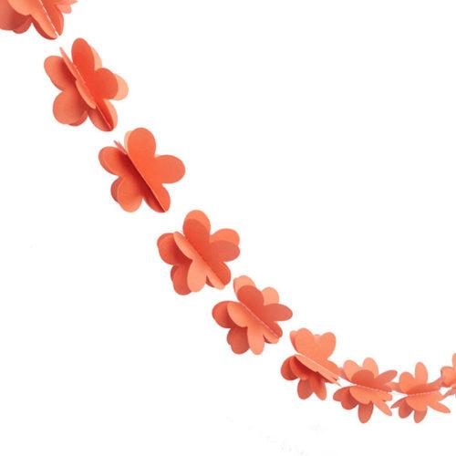 Гирлянда 3D Цветочки оранжевая 165 см