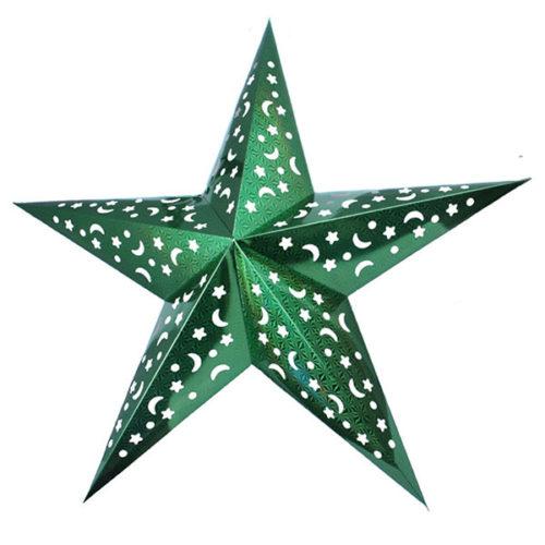 Звезда бумажная 120 см голографическая зеленая