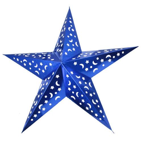 Звезда бумажная 120 см голографическая синяя