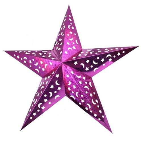 Звезда бумажная 120 см голографическая сливовая