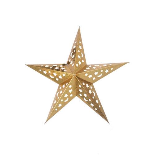 Звезда бумажная 45 см голографическая золотая