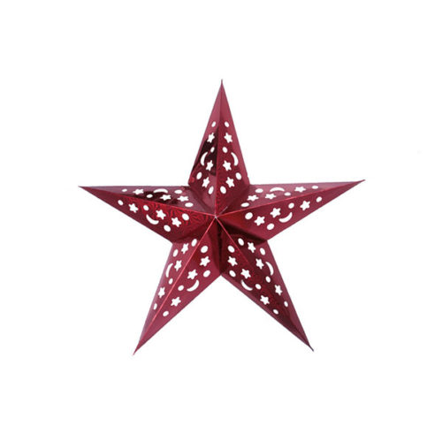 Звезда бумажная 45 см голографическая красная