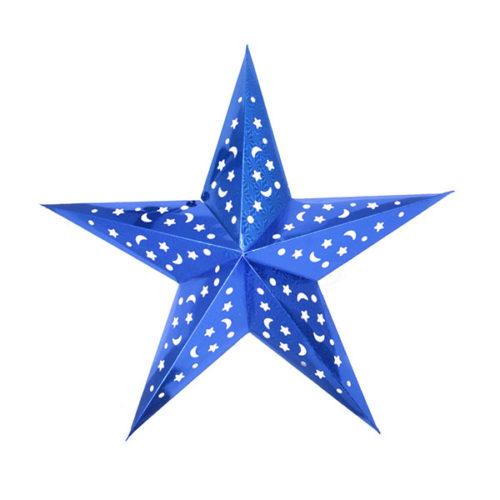 Звезда бумажная 60 см голографическая синяя