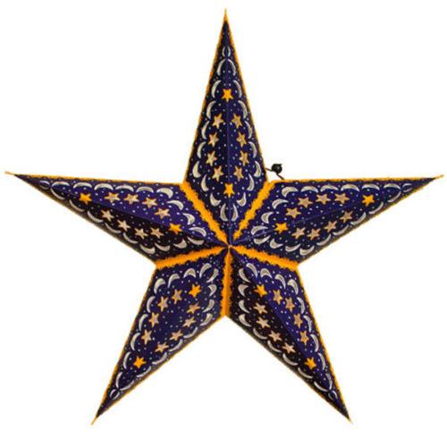 Звезда бумажная 60 см синий + оранжевый
