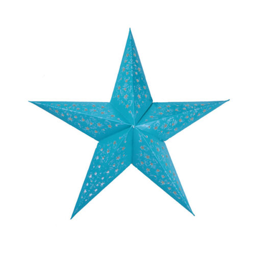Звезда бумажная 60 см с рисунком голубая