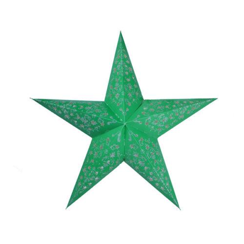 Звезда бумажная 60 см с рисунком зеленая