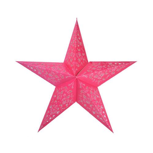 Звезда бумажная 60 см с рисунком красная
