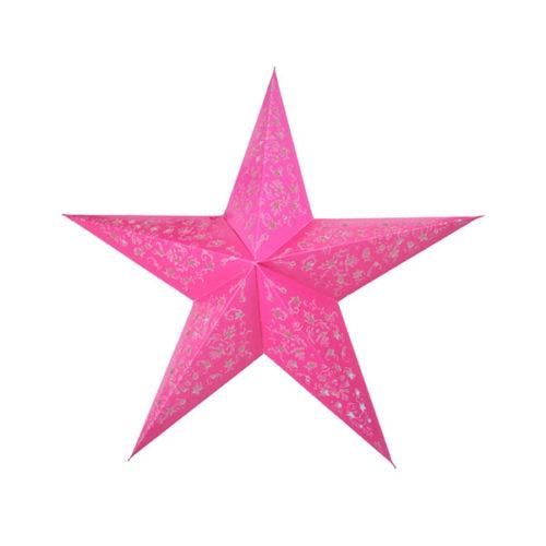 Звезда бумажная 60 см с рисунком малиновая