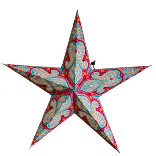 Звезда бумажная 60 см с рисунком розовый + голубой