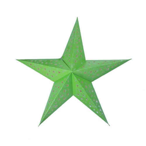 Звезда бумажная 60 см с рисунком салатовая