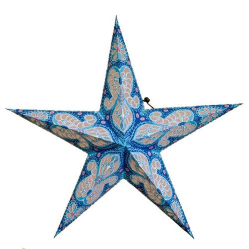 Звезда бумажная 60 см с рисунком синий+голубой