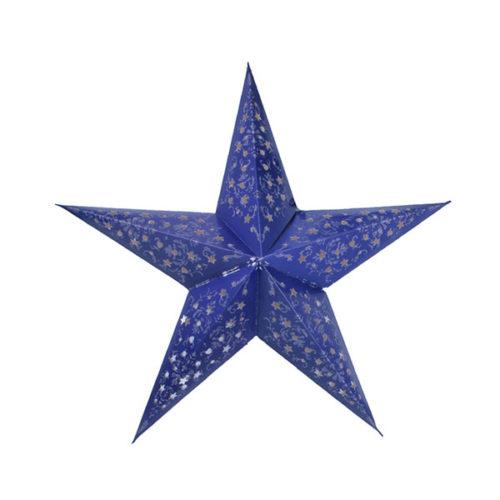 Звезда бумажная 60 см с рисунком фиолетовая