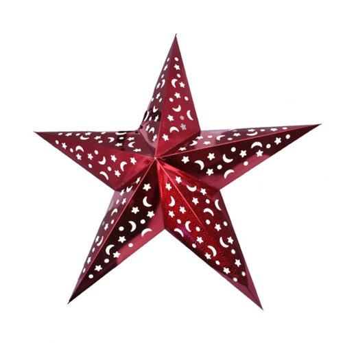 Звезда бумажная 90 см голографическая красная