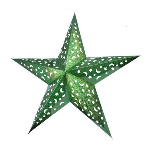 Звезда бумажная 90 см голографическая светло-зеленая