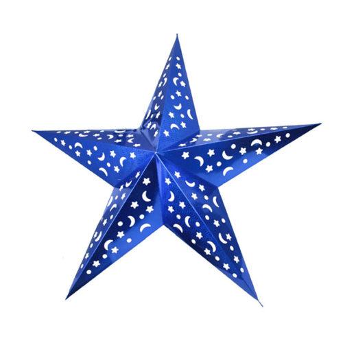 Звезда бумажная 90 см голографическая синяя
