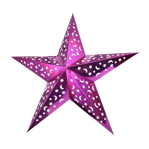 Звезда бумажная 90 см голографическая сливовая