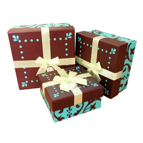 Коробка квадрат Набор Бирюза и шоколад 15х15х8 см