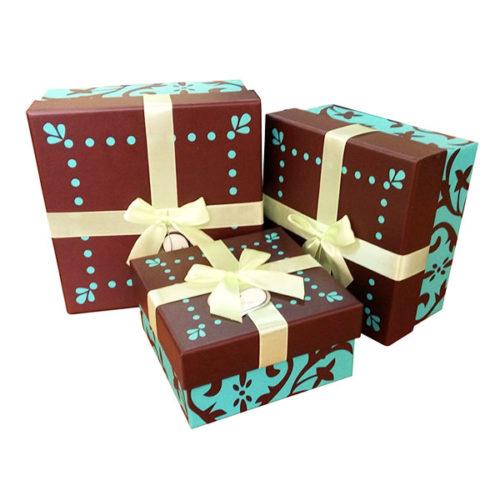 Коробка квадрат Набор Бирюза и шоколад 17х17х9 см