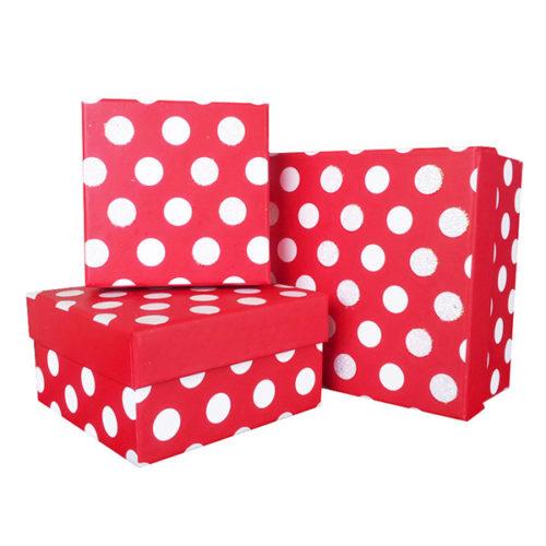 Коробка квадрат Набор Большие кружки Красный 11х11х6 см